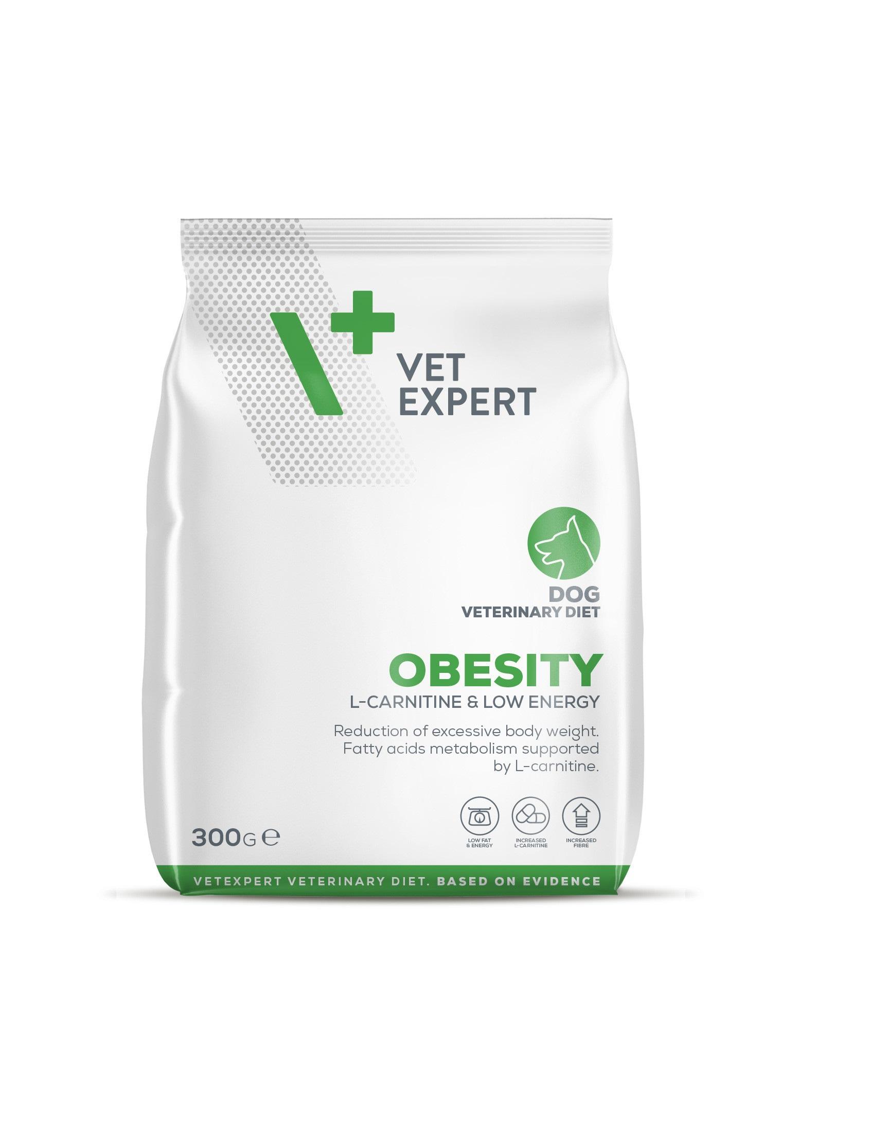 VetExpert 4T Tierärztliche Diät - Obesity – Premium Tierärztliche Diät für Hunde der an Übergewicht leidenden, Diätfutter, Tierärztliche Diät, Adipositas, Diabetes mellitus, Hyperlipidämie, Faserresponisve Colitis, Obstipation, einhergehenden Erkrankungen, kalorienreduziert.