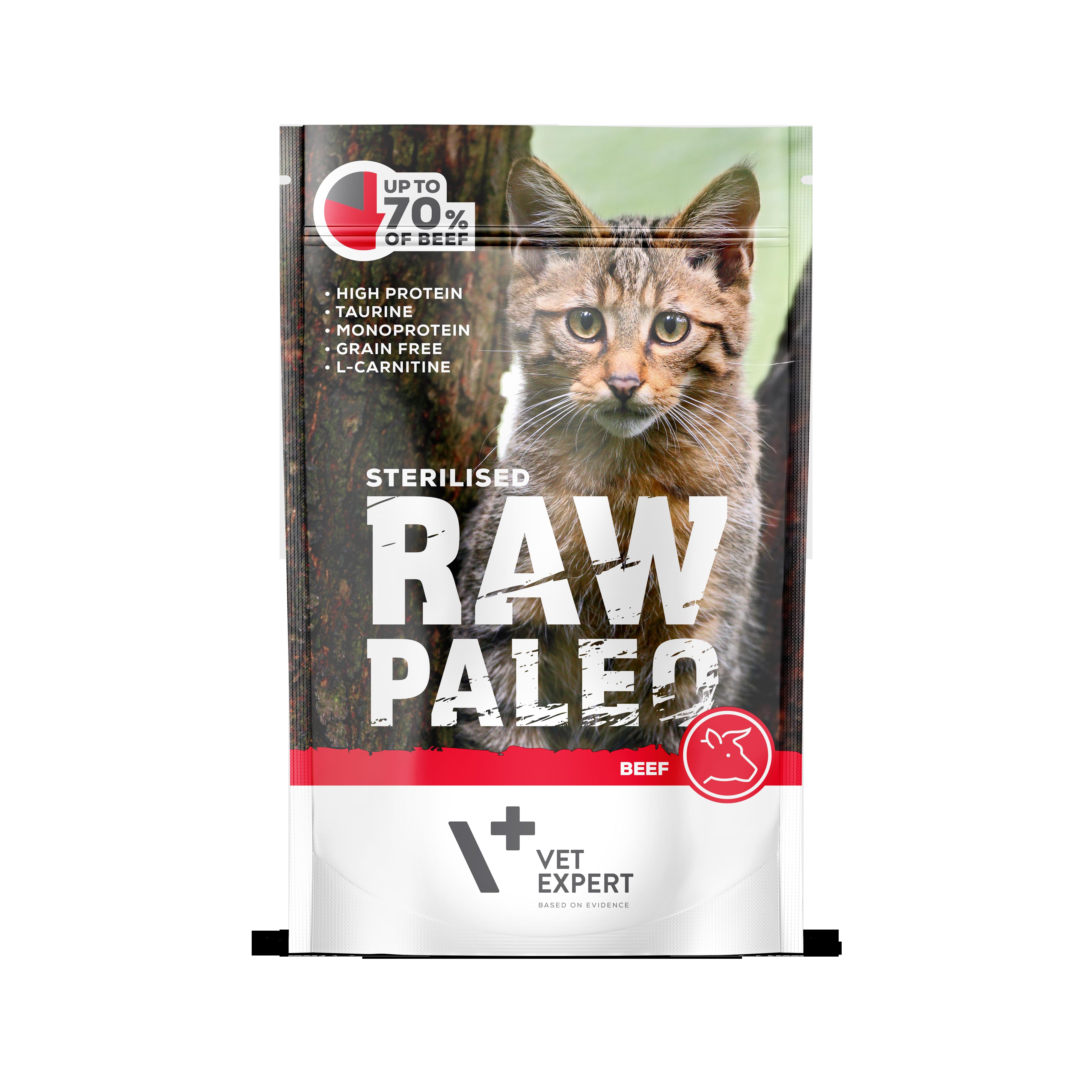 VetExpert Raw Paleo Sterilised Rind - Nassfutter für kastrierte Katzen Premium getreidefreies Katzenfutter, Alleinfuttermittel, Trockenfutter, Nassfutter, Katzenbedarf, Katzennahrung, Katzenernährung