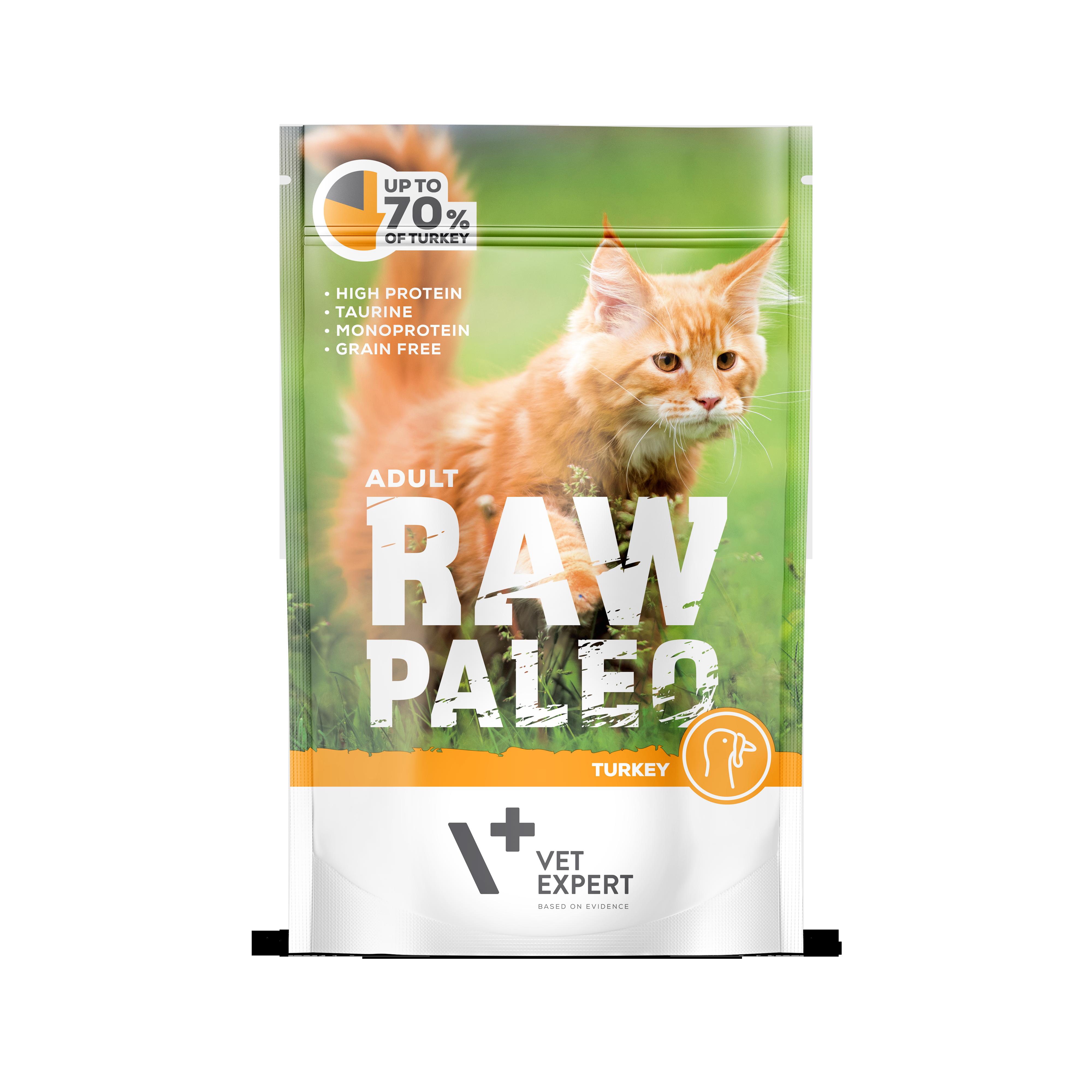 VetExpert RawPaleo Katze Adult Katzenfutter Truthahn Premium getreidefreies Katzenfutter, Alleinfuttermittel, Trockenfutter, Nassfutter, Katzenbedarf, Katzennahrung, Katzenernährung
