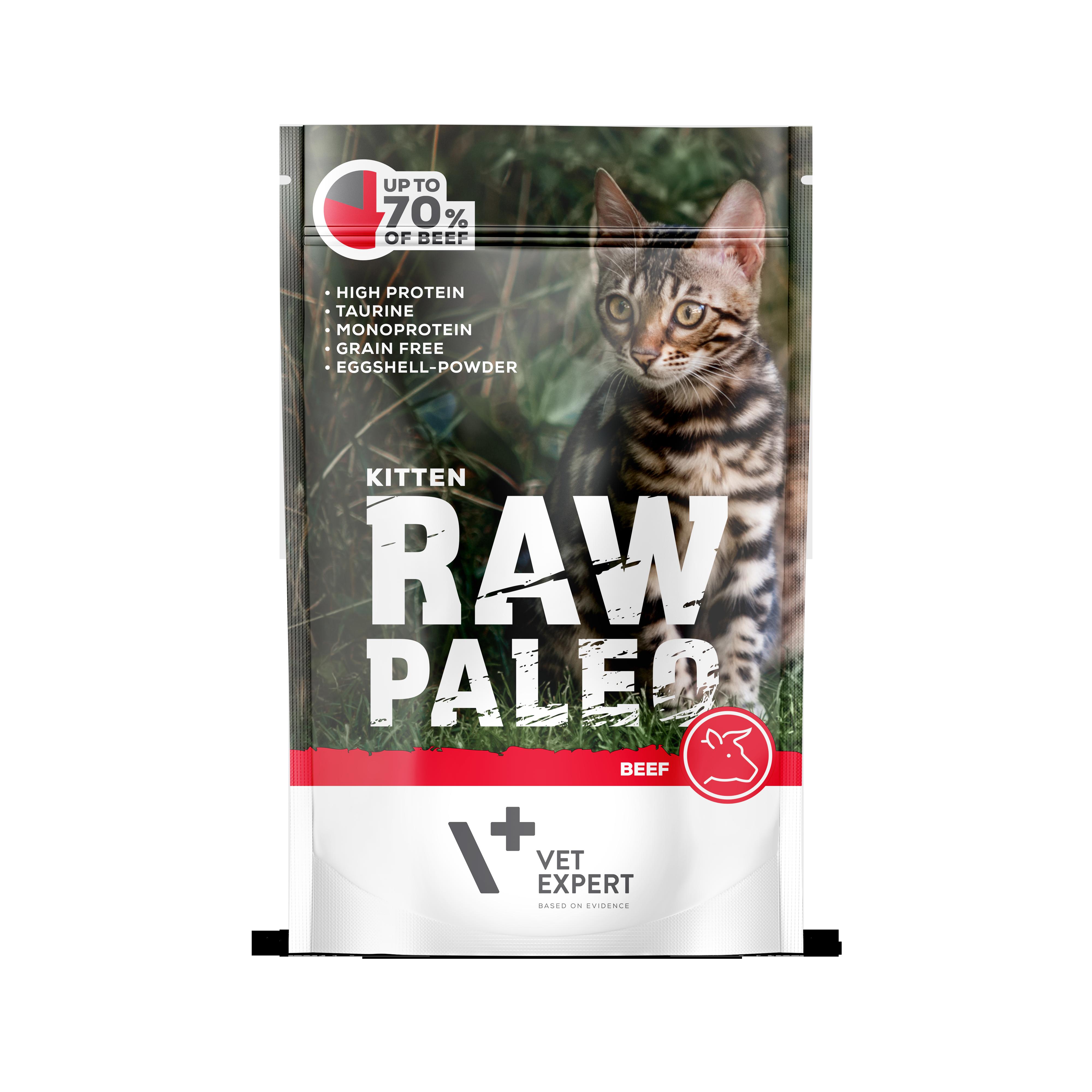 VetExpert RawPaleo Katze Kitten Katzenfutter Rind Premium getreidefreies Katzenfutter, Alleinfuttermittel, Trockenfutter, Nassfutter, Katzenbedarf, Katzennahrung, Katzenernährung